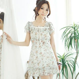 Buy Tokyo Fashion Ruffle Floral Chiffon Dress 1023065057