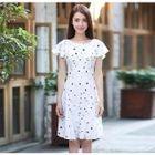 Frill Trim Short Sleeve A-Line Dress 1596