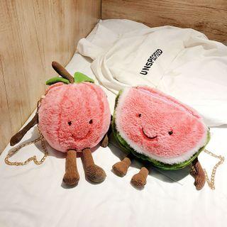 Image of Chain Strap Furry Cartoon Fruit Crossbody Bag