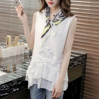 Lace Panel Sleeveless Top 1051471916