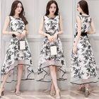 Floral Dip-Back A-Line Dress with Belt 1596