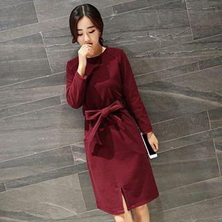 Long-Sleeve Tie-Waist Dress 1046593410
