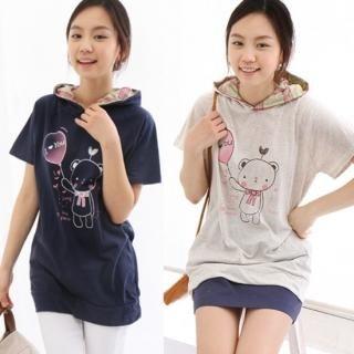 Buy CLICK Short-Sleeve Printed Hooded Top 1022324496