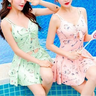Lace Up Back Printed Swimdress 1061511179