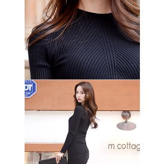 Crew-Neck Slim-Fit Ribbed Knit Top 1054545243