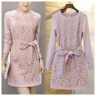 Tie-waist Long-Sleeve Lace Dress 1596