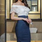 Set: Off-Shoulder Lace Top + Pencil Skirt 1596
