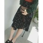 Floral Asymmetric Hem Midi Chiffon Skirt 1596