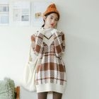 V-Neck Plaid Long Sweater 1596
