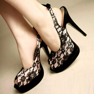 Buy Kvoll Lace Platform High Heels 1022653616