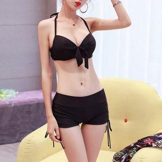 Set: Plain Bikini Top + Swim Shorts + Cover-Up 1063803637