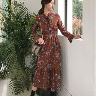 Floral Long-Sleeve Midi Chiffon Dress 1063936492