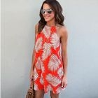 Strappy Printed A-line Dress 1596