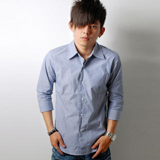 Picture of SLOWTOWN 3/4-Sleeve Pinstripe Shirt 1023009308 (SLOWTOWN, Mens Shirts, China)