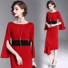 3/4-Sleeve Contrast-Trim Dress 1596
