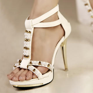 Buy Kvoll Beaded T-Strap Sandals 1023009431