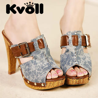 Buy Kvoll Open-Toe Denim Platform Sandals 1023009837