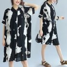 Printed Elbow Sleeve Chiffon Shirt Dress 1596