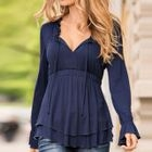 V-neck Frilled Long-Sleeve Dress 1596