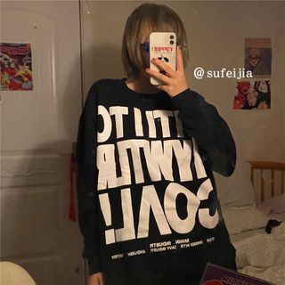 Lettering Pullover Black - One Size