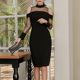Mesh Panel Cut Out Shoulder Long Sleeve Dress 1064543283