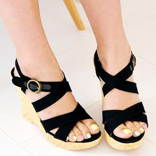 Buy Miss Hong Cross Strap Wedge Sandals 1023017456