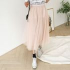Band-Waist Long Tulle Skirt 1596