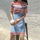 Set: Striped Short-Sleeve Knit Top + A-Line Skirt 1596