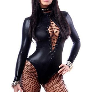 Lattice Front Faux Leather Long-Sleeve Bodysuit