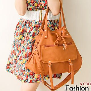 Buy Fashion Lady Faux-Leather Drawstring Satchel 1022887371