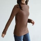 Mock-Neck Ribbed Slim-Fit Top 1596