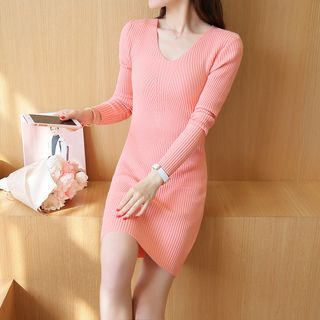 Ribbed V-Neck Knit Dress 1053069352