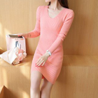 Ribbed V-Neck Knit Dress 1596