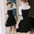 Elbow-Sleeve Lace A-Line Dress 1596