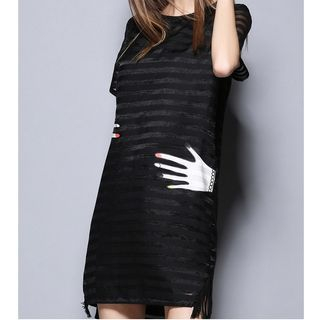T-Shirt | Stripe | Sleeve | Dress | Short | Mesh