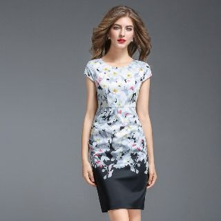 Image of Cap-Sleeve Floral Sheath Dress