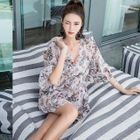Set: Floral Print Bikini + Cover-Up Dress 1596