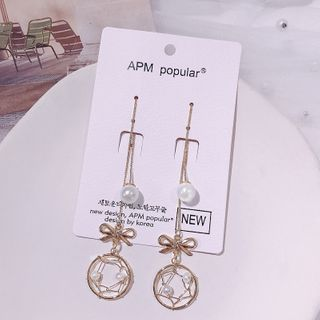Image of Faux Pearl Dream Catcher Dangle Earring 1 Pair - E1538 - Gold - One Size