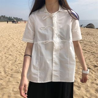Image of Bow Detail Short-Sleeve Blouse White - One Size