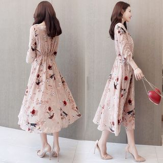 Image of 3/4-Sleeve Floral Chiffon A-Line Midi Dress