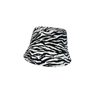 Bucket | Zebra | White | Black | Print | Size | Hat | One