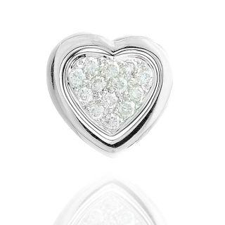 Image For 18K White Gold Heart Shape Pendant with Diamonds