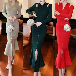 Cutout Shoulder Long-Sleeve Dress 1057451896