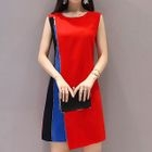 Sleeveless Color Block A-line Dress 1596