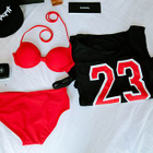 Set: Plain Bikini + Numbering Tank Top 1596