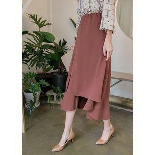Band-Waist Asymmetric-Hem Long Skirt 1061844870
