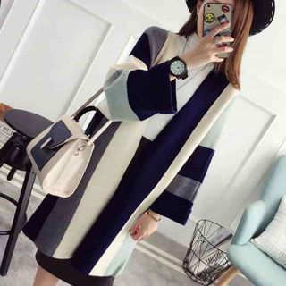 Open-Front Color-Block Long Cardigan