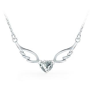 925 Sterling Silver Angel Wings Pendant with White Cubic Zircon Necklace