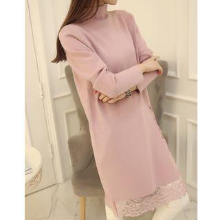 MAVIS Lace Underlay Mock Neck Knit Dress