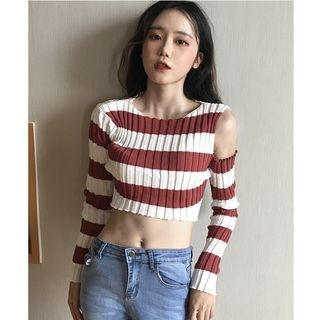 Striped Cold Shoulder Cropped Knit Top 1062495699